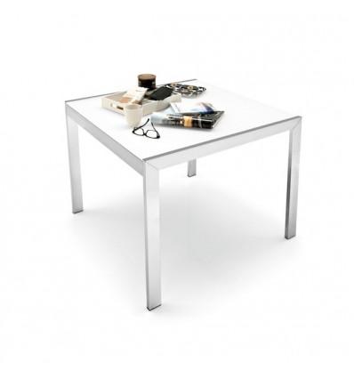 Tavolo Key CB/4044-VQ Outlet Connubia Calligaris - Struttura in metallo verniciato e piano, con allunga i n coordinato, in vetro