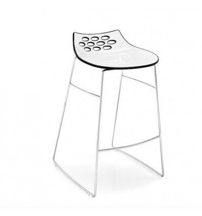 SGABELLO JAM CB/1033 - Struttura in metallo Cromato P77 e seduta in policarbonato Bianco e Nero Lucido P799/P791.