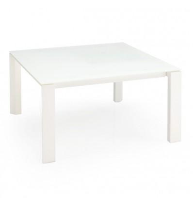 Tavolo Omnia CS/4085-QLV Calligaris Outlet - Struttura in legno Bianco Ottico opaco P94 e piano in vetro Acidato Extrabianco GA