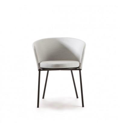 Sedia Desiree Fabric di Vermobil - Struttura Nera, Tessuto Grigio