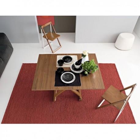 TAVOLO PIEGHEVOLE MASCOTTE CB/490 - Tavolo in legno impiallacciato colore Noce P201 (posizione tavolo aperto). Sedia pieghevole
