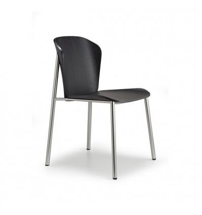 Sedia Finn Metal Wood 2897 Scab Design - Struttura Nichel Matt, Seduta Frassino Tinto Nero