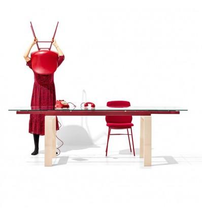 Tavolo Zeffiro CB/4798-R Connubia - Gambe in Legno di Faggio Sbiancato, Struttura metallica Rosso Ossido Opaco e Piano in vetro