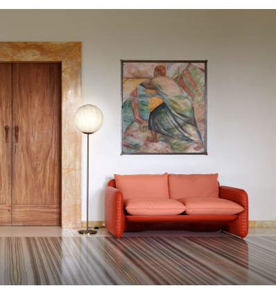 Divano Mara Slide - Struttura Pelle Sella seduta Arancione