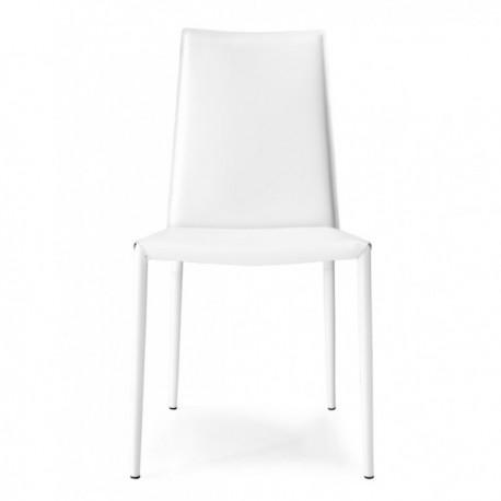 SEDIA BOHEME CB/1257 - In metallo Bianco Ottico Opaco P94, seduta e schienale in rigenerato di cuoio Bianco 474.