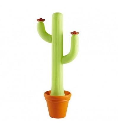 Lampada da terra Cactus Slide - Verde Luminoso, dettaglio vaso Arancio e Fiori Arancio